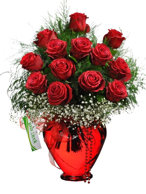 Kalp Vazoda 13 İthal Kırmızı Güller
