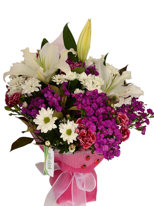 Karışık Mevsim Çiçekler ve Lilyum
